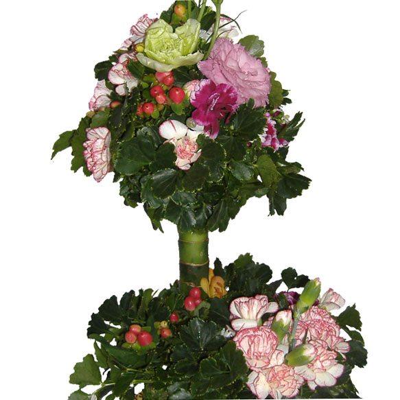 Flower garden mixed basket, close up