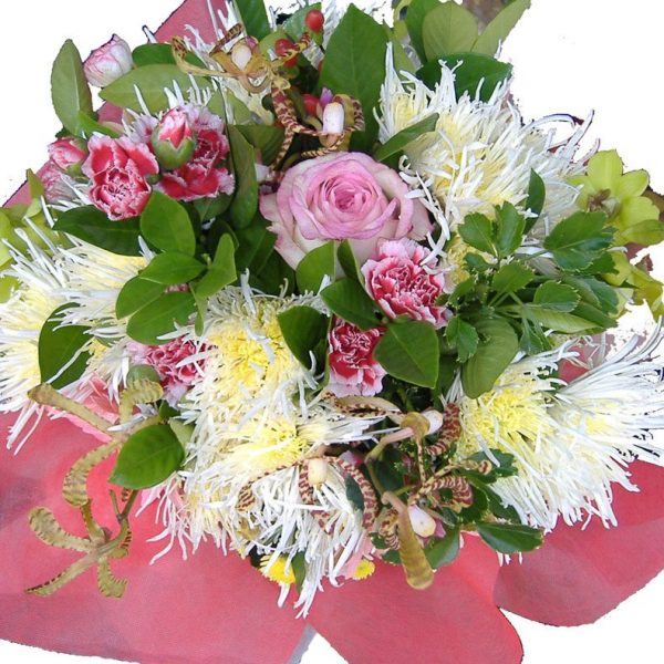Bouquet of mixed seasonal flowers, close up