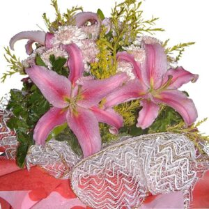 Pink Lilies in a mixed bouquet, close up
