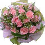Pink Roses Bouquet close