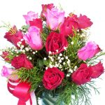 Red & Pink Roses in a Vase close