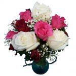 Red, Pink & White Roses Vase