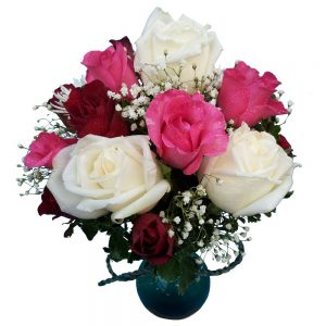 Red, pink & white Roses in a vase