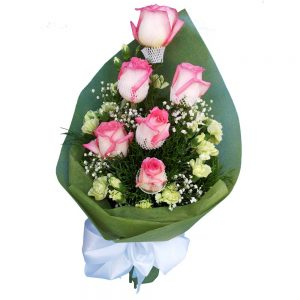 Special Pink Roses in a bouquet