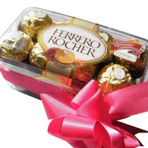 Ferrero Rocher Chocolates in a box, close up