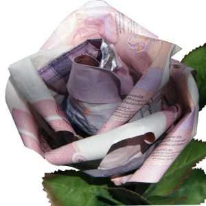Origami Money Rose, close up