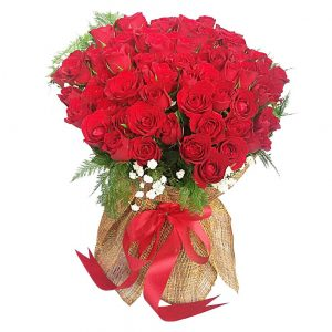99 Red Roses in a large bouquet