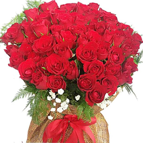 99 Red Roses in a large bouquet, close up