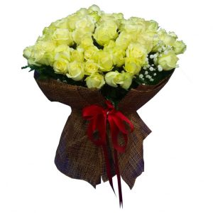 99 White Roses in a large bouquet