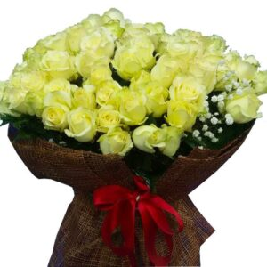 99 White Roses in a large bouquet, close up