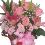 Lilies In A Mixed Basket close
