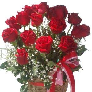 Red roses in a basket, close up