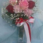 pinkredrosevase