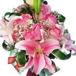 Lily Pink Rose Vase close