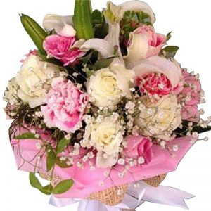 Lilies, Carnations and Roses bouquet, close up, signature of Flowers By Jack - Koh Samui Florist