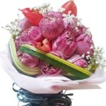 Pink Lotus Lily Bouquet close