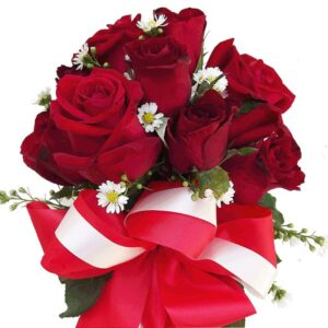 Red Roses in a vase, close up