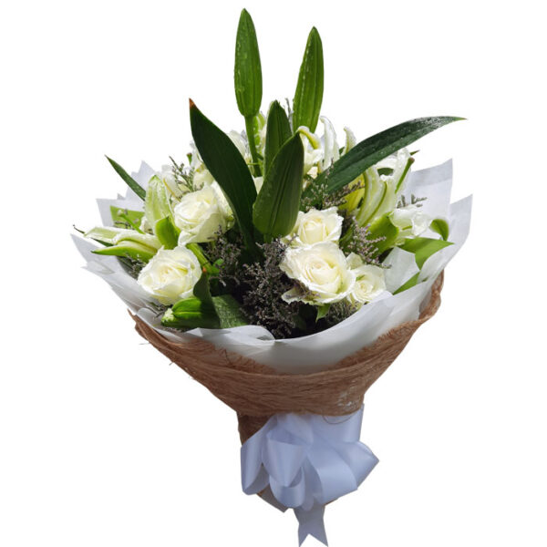 White Roses and Lilies in a bouquet