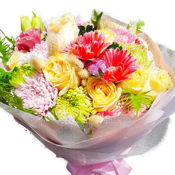 Bright Mix of flowers in a Bouquet close up