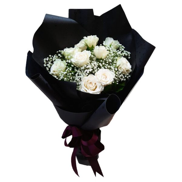 White Roses in a Black Wrap Bouquet