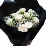 White Rose Black Wrap Bouquet close
